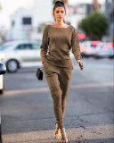 Dark khaki Autumn and winter urban casual long-sleeved two-piece suit