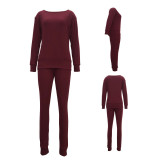 Claret Autumn and winter urban casual long-sleeved two-piece suit
