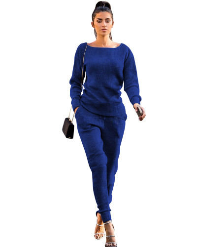 Bule Autumn and winter urban casual long-sleeved two-piece suit