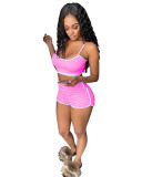 Pink Two-piece fashion suspender vest and shorts