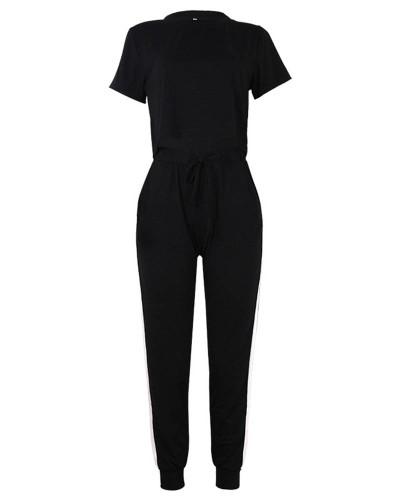 Black Round Neck Short Sleeve Crop Navel Casual Suit