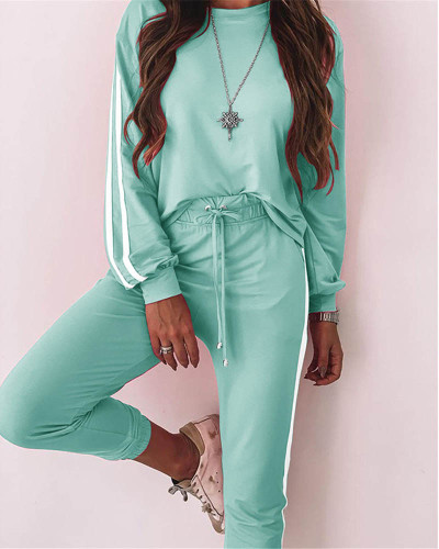 Bule Fashion loose long sleeve casual suit