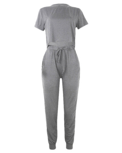Gray Round Neck Short Sleeve Crop Navel Casual Suit
