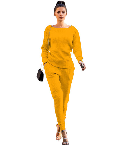 Yellow Autumn and winter urban casual long-sleeved two-piece suit