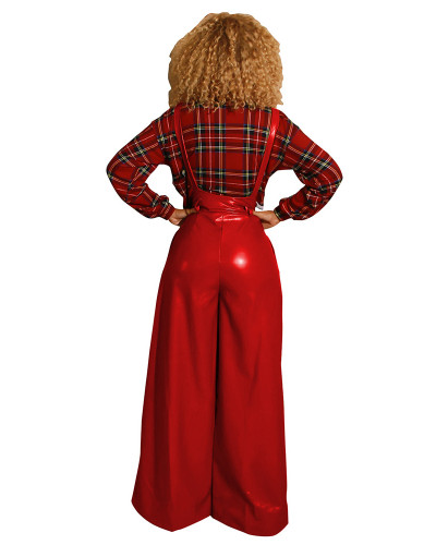 Red Sexy belted PU leather suspenders flared pants