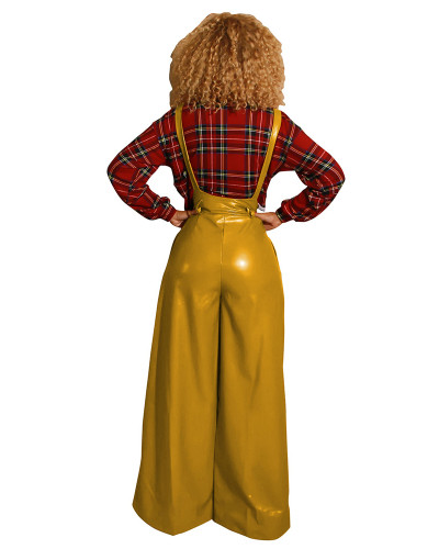 Yellow Sexy belted PU leather suspenders flared pants