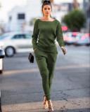 Army green Autumn and winter urban casual long-sleeved two-piece suit