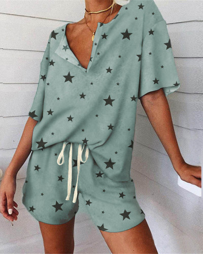Loose casual printed home service suit