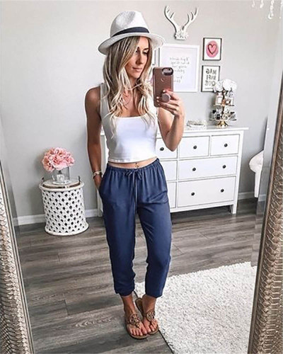Dark bule Pure color lace-up ankle-length trousers low-rise casual pants
