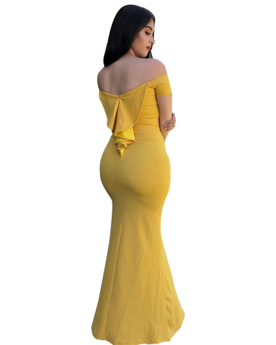 Yellow Sexy fashion one-shoulder slit solid color dress