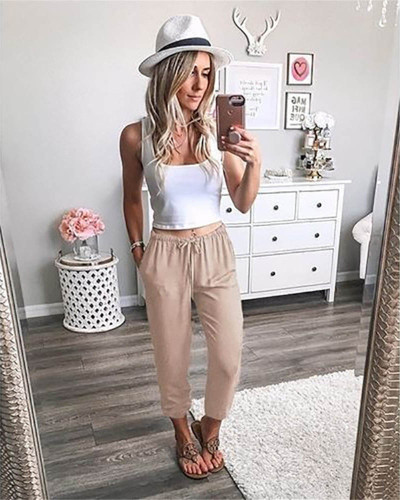 Khaki Pure color lace-up ankle-length trousers low-rise casual pants