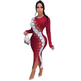 Red Winter long skirt sexy self-cultivation lace-up high elastic pit strip dress
