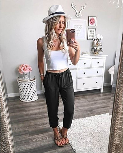 Black Pure color lace-up ankle-length trousers low-rise casual pants