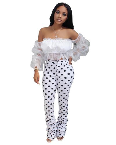 White Fashion wrinkled library tube polka dot print casual pants