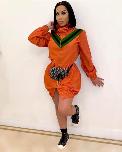 Orange Large V-neck stitching high-neck trench coat