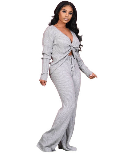 Gray Fashion casual solid color stitching personalized pocket sports suit two-piece suit