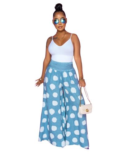 Blue Fashion casual polka dot wide-leg casual pants
