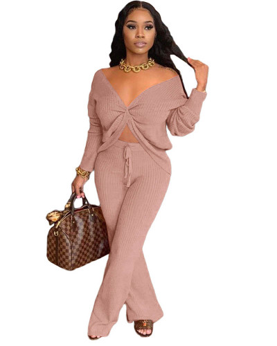 Pink Fashion casual solid color stitching personalized pocket sports suit two-piece suit