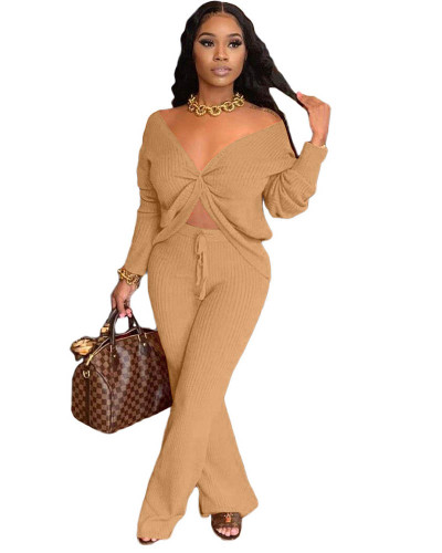 Khaki Fashion casual solid color stitching personalized pocket sports suit two-piece suit