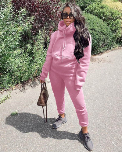 Pink Autumn and winter new leisure solid color hooded sports suit