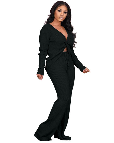 Black Fashion casual solid color stitching personalized pocket sports suit two-piece suit