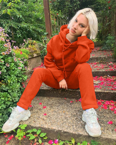 Orange Autumn and winter new leisure solid color hooded sports suit
