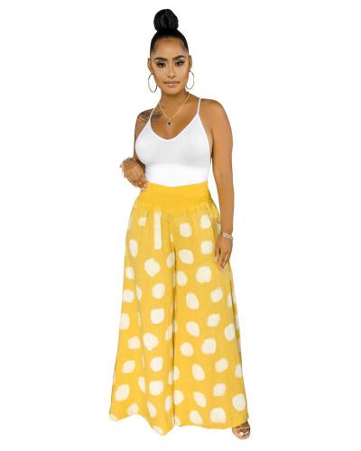 Yellow Fashion casual polka dot wide-leg casual pants