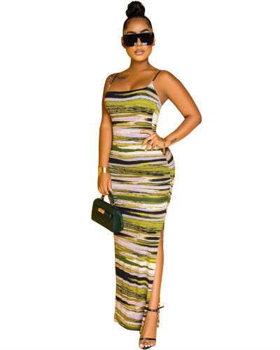 Green Striped tie-dye dress with adjustable straps