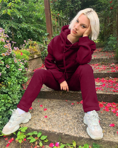 Claret Autumn and winter new leisure solid color hooded sports suit
