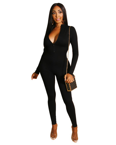 Black Solid color front and back zipper jumpsuit