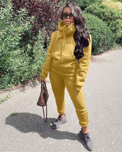 Khaki Autumn and winter new leisure solid color hooded sports suit
