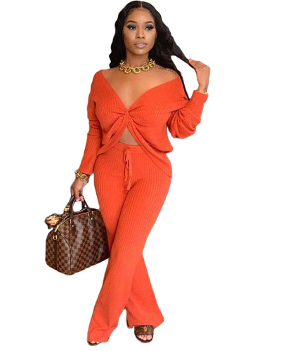 Orange Fashion casual solid color stitching personalized pocket sports suit two-piece suit