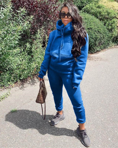 Bule Autumn and winter new leisure solid color hooded sports suit