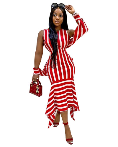 Red Fashion sexy striped dress