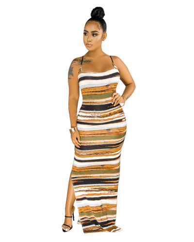 Orange Striped tie-dye dress with adjustable straps