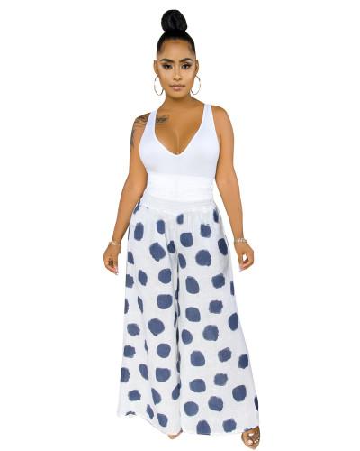 White Fashion casual polka dot wide-leg casual pants