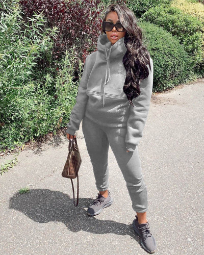 Gray Autumn and winter new leisure solid color hooded sports suit