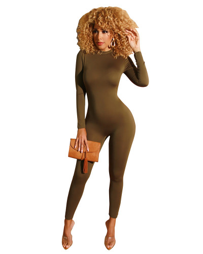 Brown Solid color front and back zipper jumpsuit