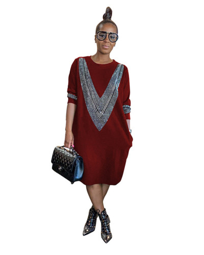 Red Fashion casual loose hot brick autumn and winter dress