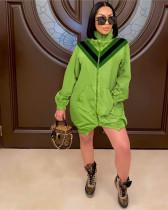 Green Large V-neck stitching high-neck trench coat