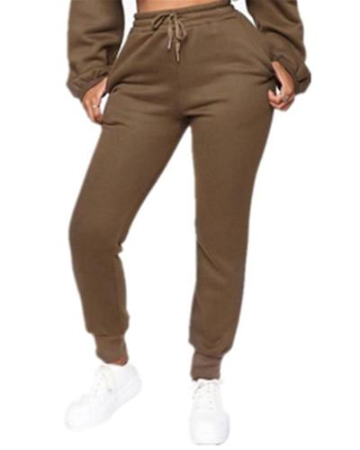Khaki Fashion solid color plus fleece trousers