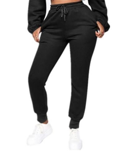 Black Fashion solid color plus fleece trousers