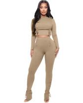 Khaki Two-piece trousers split