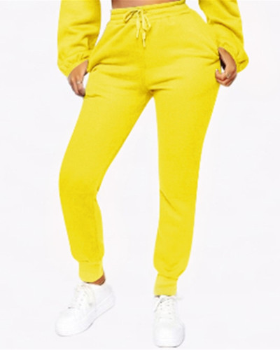 Yellow Fashion solid color plus fleece trousers