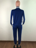 Bule Casual suit Rib stitching sports two-piece suit