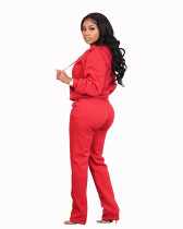 Red Pocket trousers casual two-piece suit