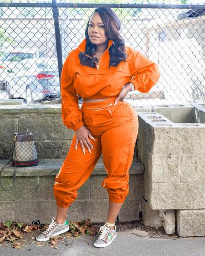 Orange New style personalized satchel zipper suit two-piece