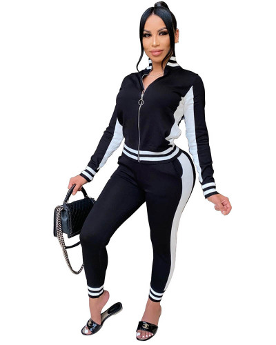 Black Casual suit Rib stitching sports two-piece suit