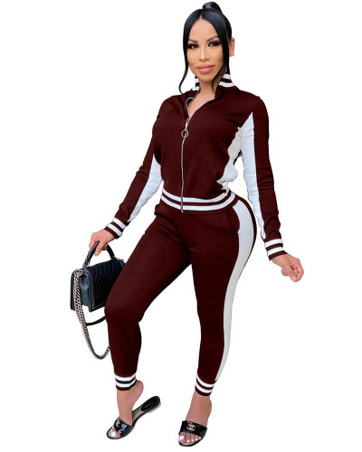 Coffee Casual suit Rib stitching sports two-piece suit