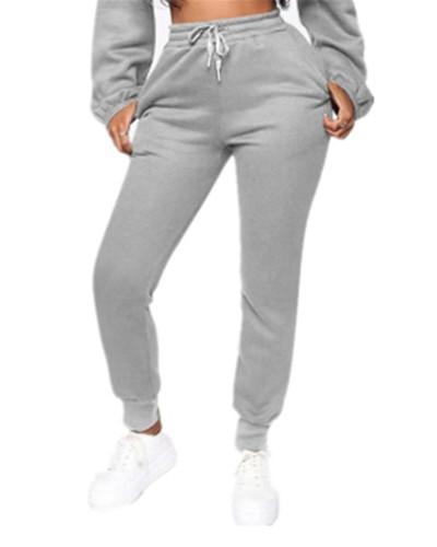 Gray Fashion solid color plus fleece trousers